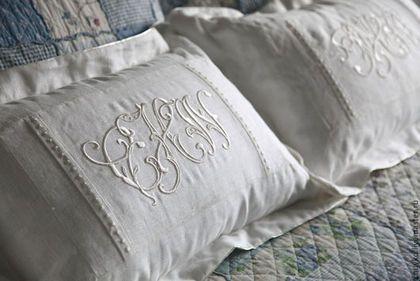 Текстиль, ковры ручной работы. Ярмарка Мастеров - ручная работа. Купить Подушки с инициалами супругов, комплект. Handmade. Подушка, молодожены
