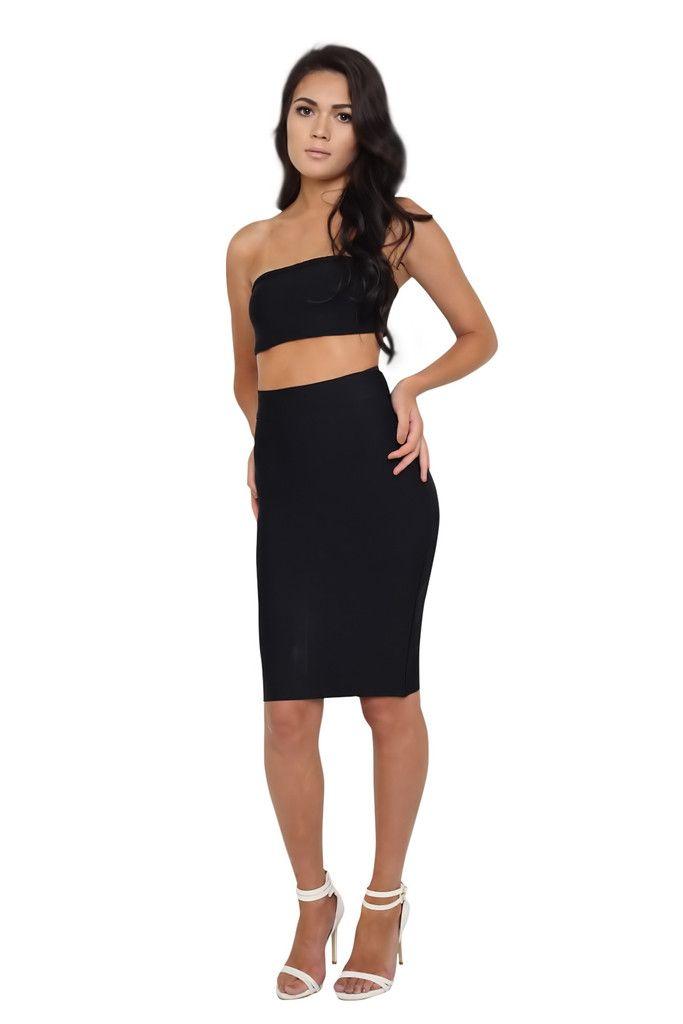 Mia Black Bandeau Crop Top and Midi Skirt Bandage Set