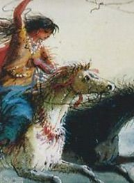 1837- Detail from a painting of a Shoshone woman roping a horse by Alfred Jacob Miller, now in the Walters Art Gallery, Baltimore