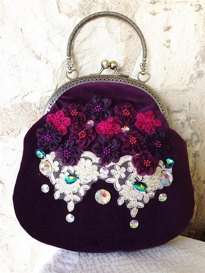 Vintage Mor Kadife Çanta - Vintage stilde kadife özel tasarım El çantası