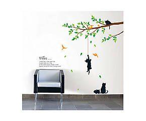 Stickers TREE AND CATS - vinyle adhésif