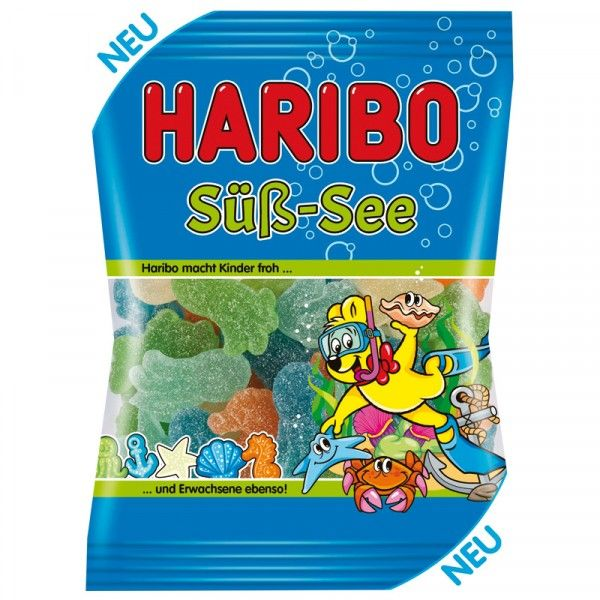 """""""Haribo Sweet-Sea"""" is soft fruit gum with sweet candy. The motifs from the fascinating underwater world are found in the delicious flavors of forestry, cherry, apple, blueberry, pineapple and maracuja. So dive into the delicious taste..."""