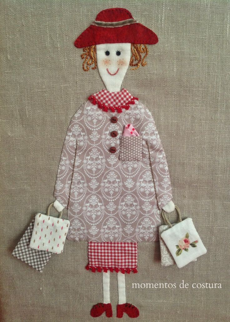 A happy appliqué of a lady who is shopping!
