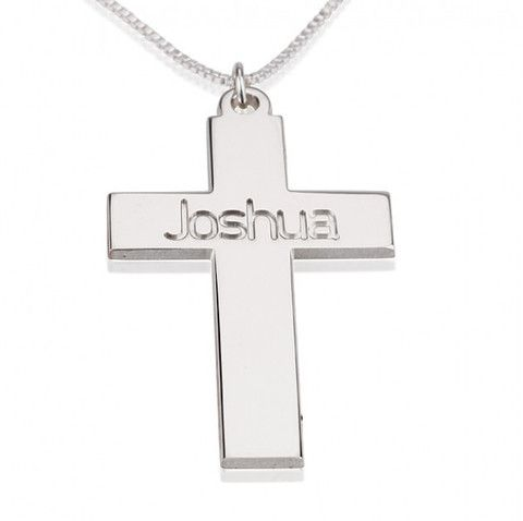 Sterling Silver Cross Necklace with Name
