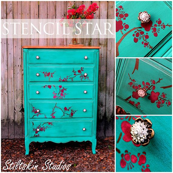 Michele Hiley of Stiltskin Studios created this dresser with our Cherry Blossoms stencil, Chalk Paint™ decorative paint and our Royal Stencil Cremes.