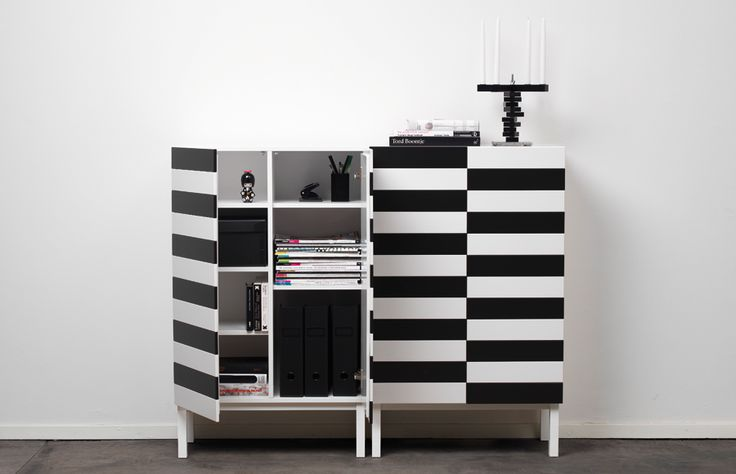 """""""No. 24 cabinet"""" designed by Swedish A2.: Heart, Stunning Stripes, Modern Cabinets, Design Cabinets Drawers, Black White Stripes"""