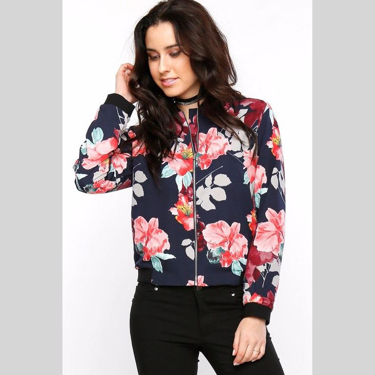 Stay on trend with this adorable floral bomber jacket.