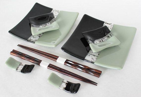 SUSHI SET Ebony Fused Glass Sushi Set with by SunflowerGlassworks