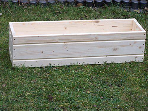 Blumenkasten aus Holz Kräuterkasten Balkonkasten Pflanzkübel Pflanzkasten 80 x 22 x 20 cm mit gefrästem Fugenimitat