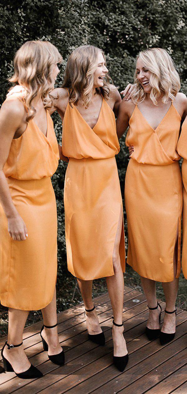 Oranje spaghettibandjes v-hals knielengte zomer bruiloft bruidsmeisjekleding, PB1072