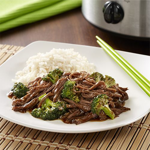 An Asian recipe for the stir-fry dish made in a slow cooker with flank steak seasoned with soy sauce, garlic and ginger before adding broccoli at the end
