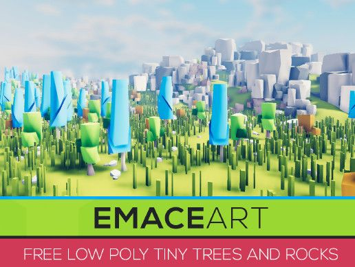 Free Low Poly Nature Set - Tiny Trees and Rocks