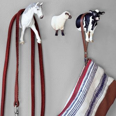 Country Living Magazine  Cows, horses, and sheep. Oh my! Forget plain-jane hooks; hang your handbag on these cheeky animals instead.     How to make your own: http://cntry.lv/6032nnJC — Timeline Photos
