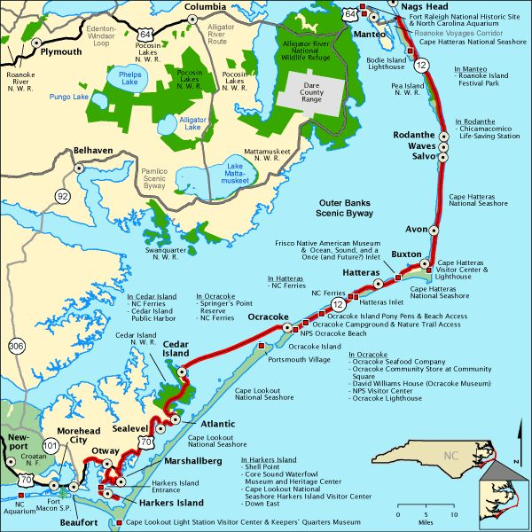 Outer Banks Map Towns National Scenic Byway North Carolina
