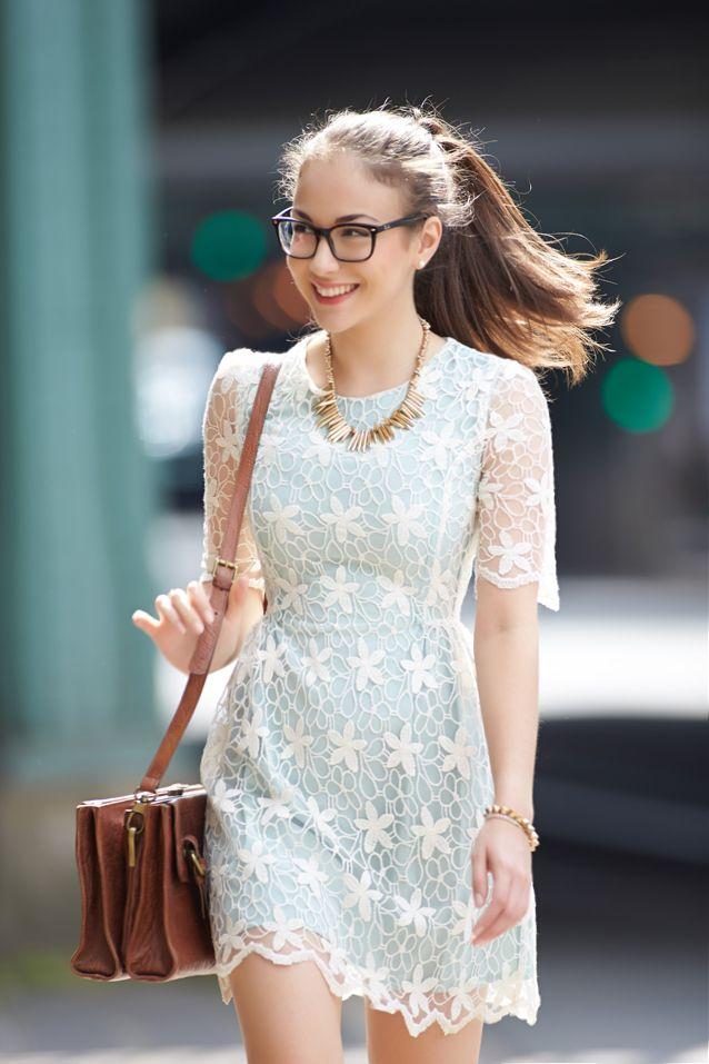 white lace and handbag