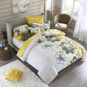 Grey and Yellow Bedding! Guest room