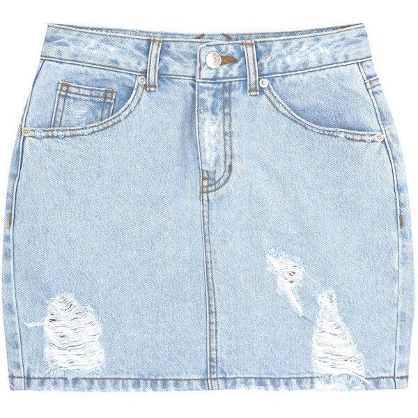 Womens Mini Skirts SJYP Light Blue Distressed Denim Mini Skirt found on Polyvore
