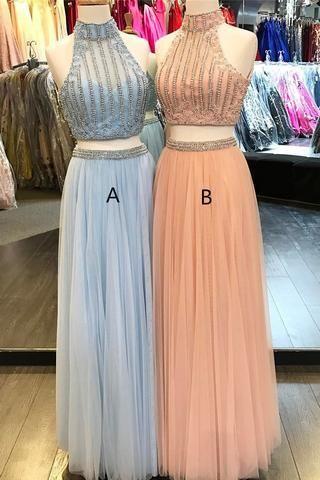 Zweiteiliges Abendkleid, sexy Ballkleider, maßgefertigter Abschlussball, neue Mode, ärmelloses langes formelles Kleid aus hellblauem Tüll mit Perlenbesatz von Fantasy Club528