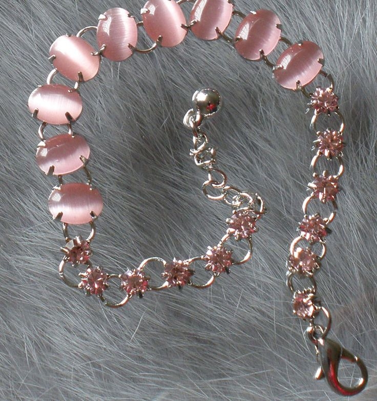 Charm Alloy Inlaid Baby Pink Cat Eye Gem Crystal Extensible Bracelet