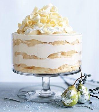 Questo specialissimo tiramisù è un dolce suntuoso, un trionfo di cioccolato bianco, mascarpone, pere e panna; il tutto deliziosamente contrappuntato dalle spezie e dallo zenzero,