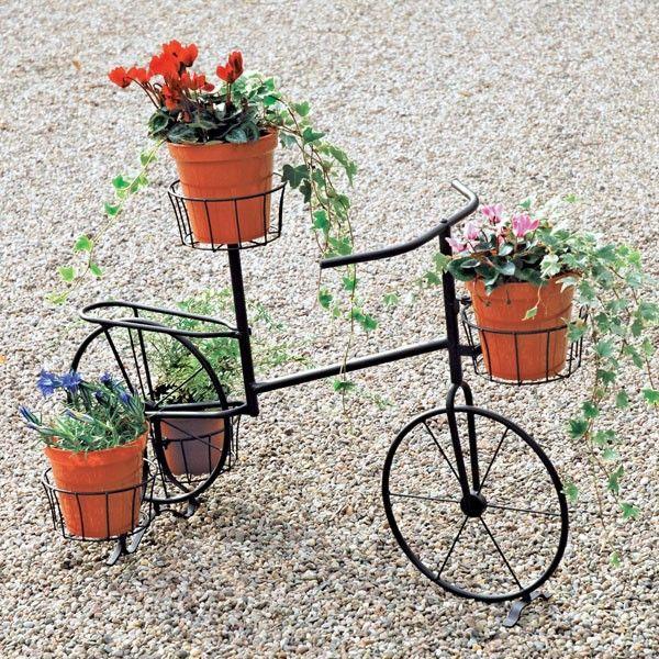 bicycle plant stand decorative metal bike plant pot. Black Bedroom Furniture Sets. Home Design Ideas
