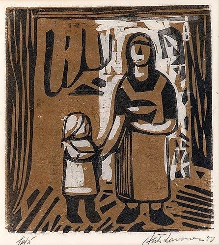 AHTI LAVONEN  Mother and Child (woodcut, 1959)