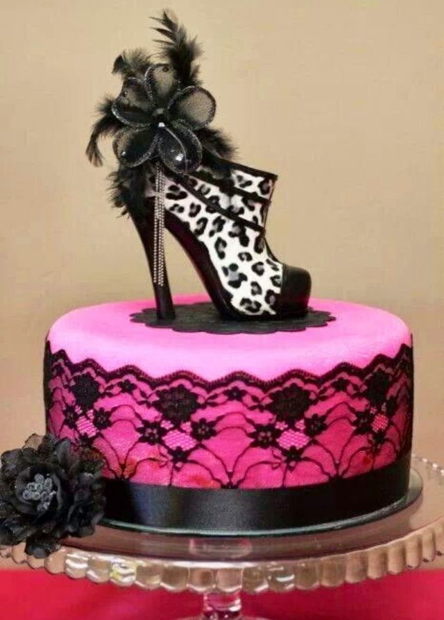Black and Pink High Heel Shoe Cake