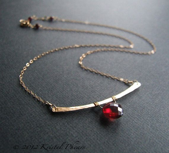 Garnet Necklace - January Birthstone gift Hammered Gold-Filled or Sterling Bar  by Kris P Studio