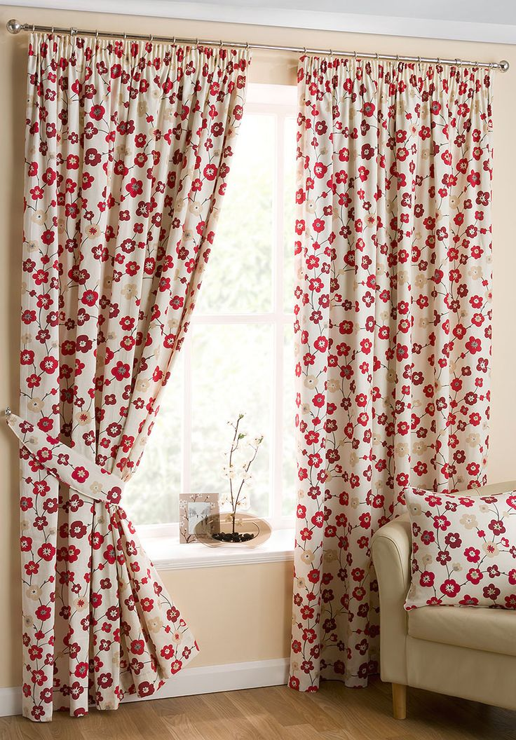 Cherry Blossom Red Ready Made Curtains