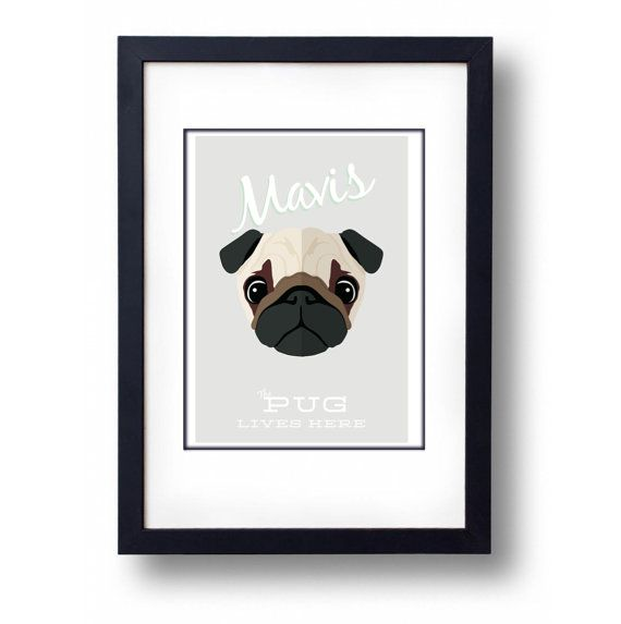 Personalised Pug Print A3 Print by mammothcreativeworks on Etsy