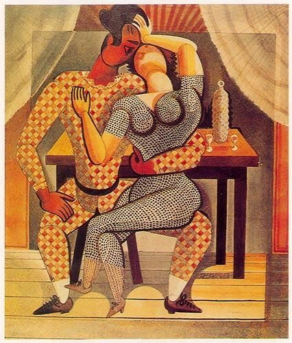 « Arlequim e Columbina » Óleo sobre tela ,1938. 533x452 mm ( Ao Diamantino Tojal ) José de Almada Negreiros (1873 - 1970 )