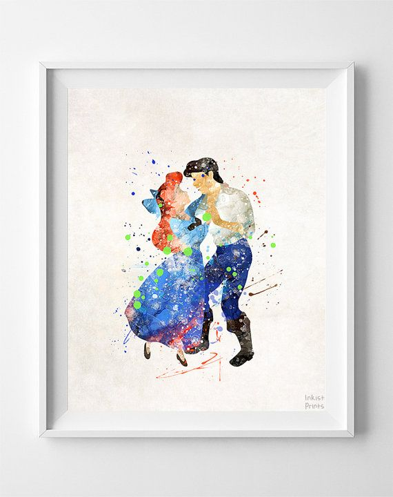 Little Mermaid Print Ariel Watercolor Art Disney by InkistPrints