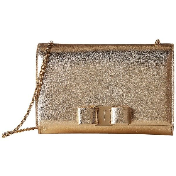 Salvatore Ferragamo Mini Vara Flap Bag (Oro Mekong) Cross Body... (2.340.500 COP) ❤ liked on Polyvore featuring bags, handbags, shoulder bags, oro mekong, purse crossbody, leather crossbody handbags, handbags shoulder bags, leather handbags and leather shoulder bag