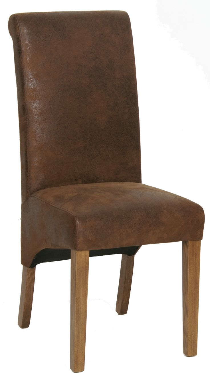 Plymouth Rustic Oak Dining Chaiur With Bison Fabric Seat And Back
