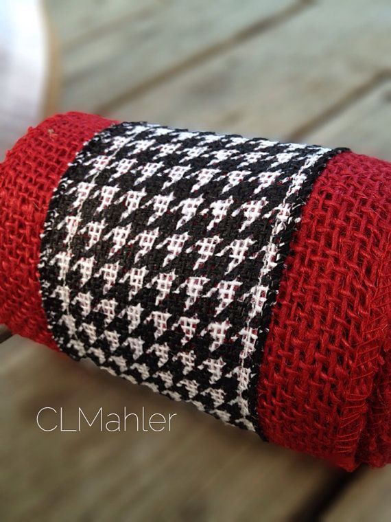 University of Alabama houndstooth burlap ribbon for crafts roll tide on Etsy, $5.50