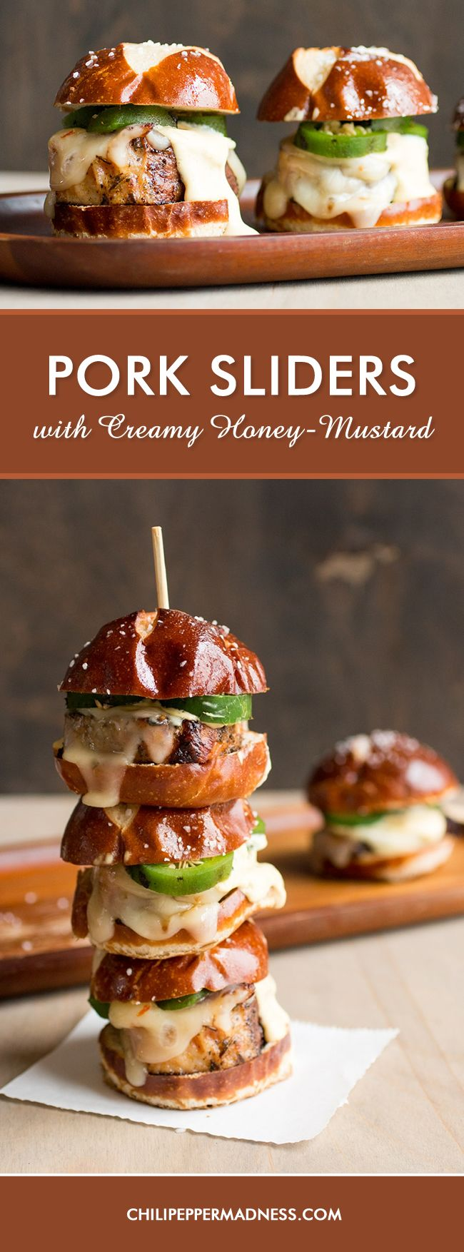 Pork Sliders with Creamy Honey Mustard –  These mini pork burgers, made from lean pork loin, are topped with melty pepper jack cheese and roasted jalapenos, then smothered with homemade creamy honey-mustard sauce. Perfect for parties. Get the recipe here.