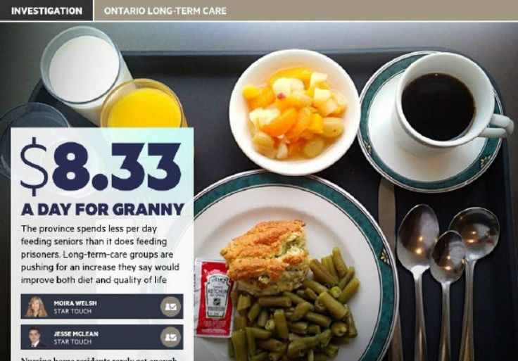Ontario nursing homes can add fresher, better food to menu thanks to budget boostm - May 10, 2017 -  The Ontario government is boosting the raw food allowance for long-term care residents to $9 a day from $8.33 starting July 1.
