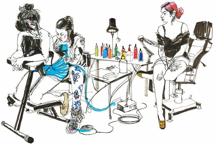 Darlings: Drawn at Newcombe's Ink tattoo shop, Halifax, Nova Scotia.