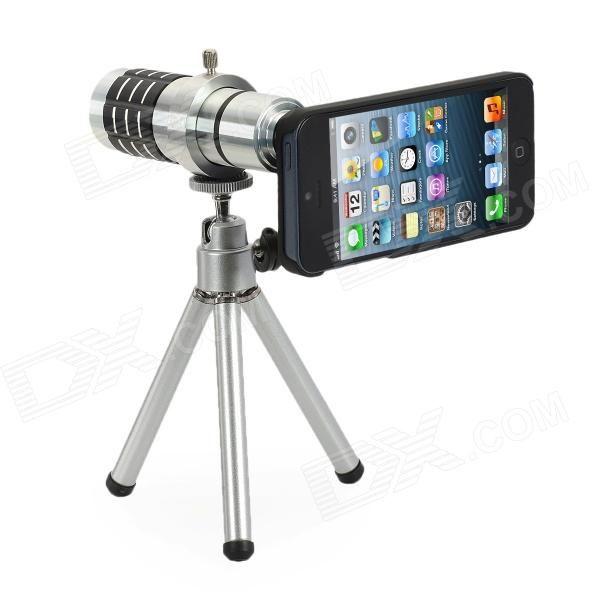 Lentes com zoom 12x para telefoto com tripé montável + Capa para iPhone 5 - Prata
