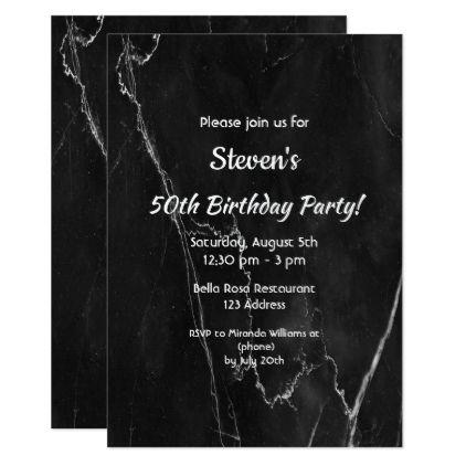 50th Birthday Party Invitation Card Black Marble
