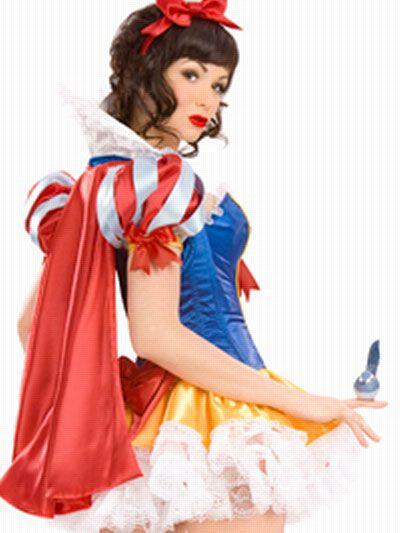 Acrylic Satin Sexy Snow White Princess Costume