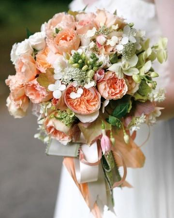 apricot and beige wedding bouquets   Flower Ideas from Real Weddings - Martha Stewart Weddings Flowers