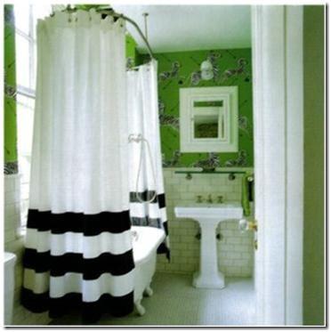 green and navy bathroom