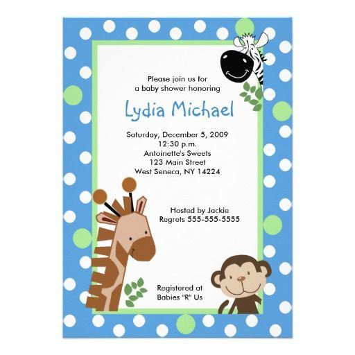 JUNGLE ADVENTURE BLUE Safari Baby Shower Card. DschungelBabyparty Karten Einladungen ...