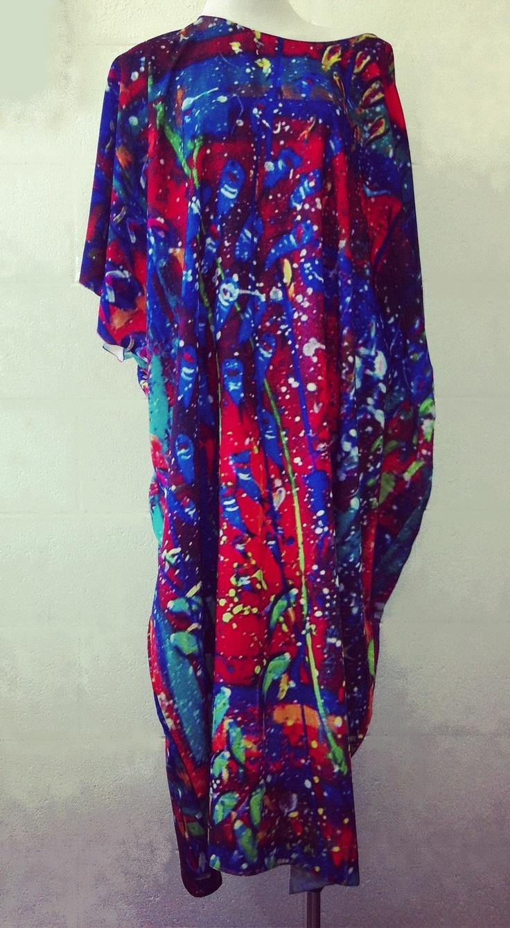 'Reef Colours' Cupro kaftan inspired by Regan O'Neill's original artwok $189  One size fits all  www.tangella.com.au