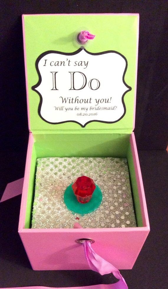 Will You Be My Bridesmaid RING POP Box. Can't Say I Do Without You. ** PINK ** Beautiful Box