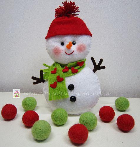 ♥♥♥ Boneco de neve... by sweetfelt \ ideias em feltro