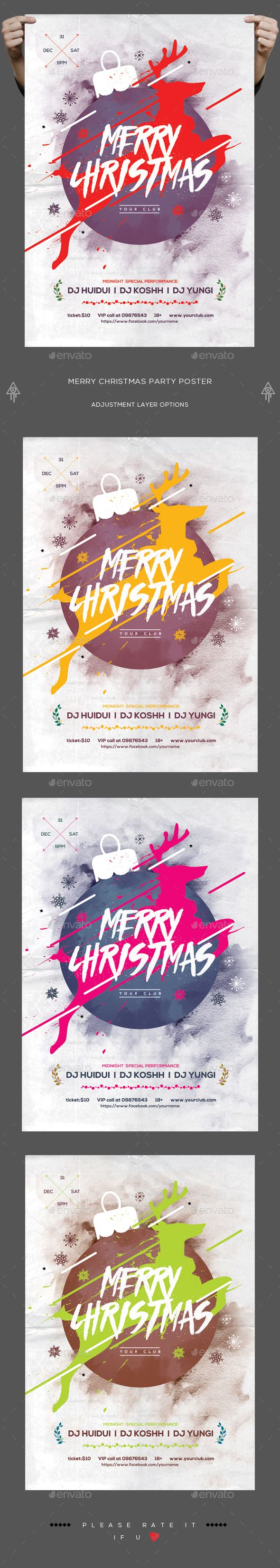 Merry Christmas Party Poster  — PSD Template #inspiration #christmas party #nye • Download ➝ https://graphicriver.net/item/merry-christmas-party-poster/18622459?ref=pxcr