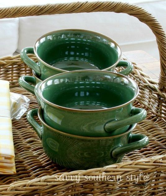 Pretty green soup bowls