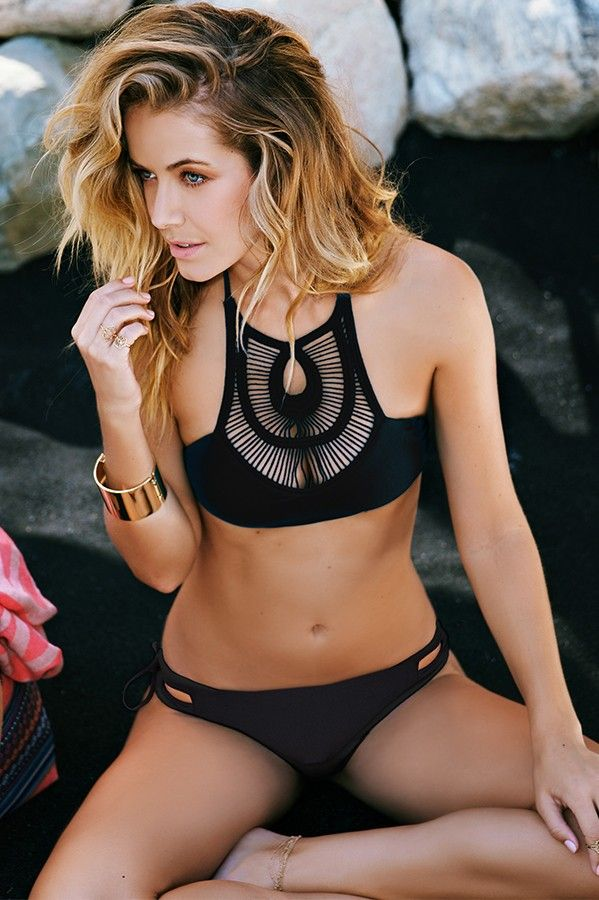 Black Bone Crochet Neck Bikini.